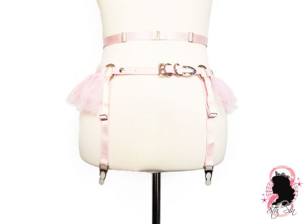 Pink Faux Leather O Ring Garter Belt
